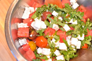 Heirloom Tomato, Watermelon, and Feta Salad- MIXING TOGETHER