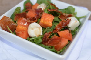 papaya, crispy proscuitto, and mozzarella salad- side shot2