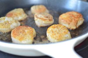 scallops provencal- searing scallops