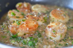 scallops provencal- side view, cooking scallops