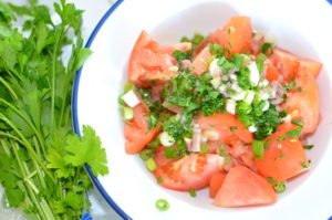 tomato salad- finished with dressing