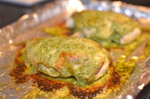 pecorino-and-pesto-roast-chicken-out-of-the-oven